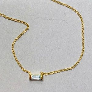 Dainty Blue Topaz Rectangular Single Necklace,NWT